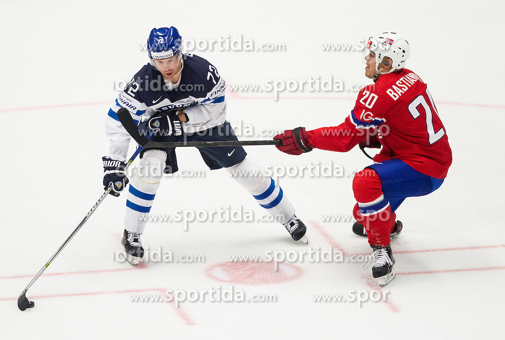 Joonas Donskoi of Finland vs Anders Bastiansen of Norway during Ice Hockey match between Norway and Finland at Day 4 in Group B of 2015 IIHF World Championship, on May 4, 2015 in CEZ Arena, Ostrava, Czech Republic. Photo by Vid Ponikvar / Sportida