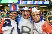 French fans during the Rugby World Cup Pool D match between France and Ireland at Millenium Stadium, Cardiff, Wales on 11 October 2015. Photo by Shane Healey.
