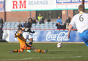 Christian Nade comes close with this effort which was cleared off the line - Dundee v Greenock Morton, SPFL Championship at <br /> Dens Park<br /> <br />  - &copy; David Young - www.davidyoungphoto.co.uk - email: davidyoungphoto@gmail.com