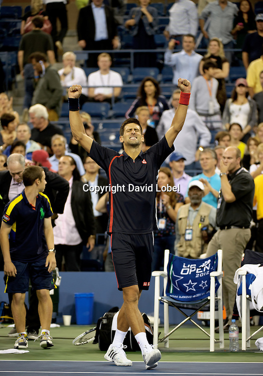 September 5, 2012: Novak Djokovic from Serbia (SRB) defeated Argentina's Juan Martin Del Potro (ARG) during their quarterfinal match on Day 11 of the 2012 U.S. Open Tennis Championships at the USTA Billie Jean King National Tennis Center in Flushing, Queens, New York, USA. (David Lobel / EQ Images)