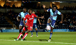 Anthony Stewart of Wycombe Wanderers clears the ball from Arnold Garita of Bristol City - Mandatory by-line: Robbie Stephenson/JMP - 09/08/2016 - FOOTBALL - Adams Park - High Wycombe, England - Wycombe Wanderers v Bristol City - EFL League Cup