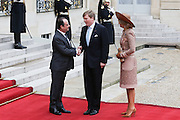 FRENCH PRESIDENT FRANCOIS HOLLANDE RECEIVES KING WILLEM - ALEXANDER AND MAXIMA QUEEN OF THE NETHERLANDS TO THE PALACE ELYSEE , PARIS , FRANCE.10 March 2016<br /> ©Exclusivepix Media