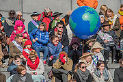 Baloon Globes are issued as a symbol of international solidarity - 'Walk in Her Shoes' a mother's day march in solidarity with women and girls around the world and in advance of International Womens Day this week - CARE International's Walk In Her Shoes event led by Helen Pankhurst, her 21-year old daughter Laura Pankhurst, music legend Annie Lennox, Bianca Jagger, comedian Bridget Christie, Secretary of State for International Development Justine Greening, London Mayoral candidates Sadiq Khan and Sophie Walker and a group of 'Olympic Suffragettes' in Edwardian clothing with banners. They were also joined by Sister Sledge.