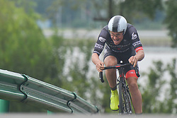 September 15, 2017 - Chenghu City, United States - Sean Lake from Isowhey Sport Swisswellness team during the fourth stage of the 2017 Tour of China 1, the 3.3 km Chenghu Jintang individual time trial. .On Friday, 15 September 2017, in Jintang County, Chenghu City,  Sichuan Province, China. (Credit Image: © Artur Widak/NurPhoto via ZUMA Press)