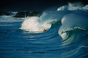 Boggieboarding, bodyboarding, Waimea Bay, North Shore, Oahu, Hawaii
