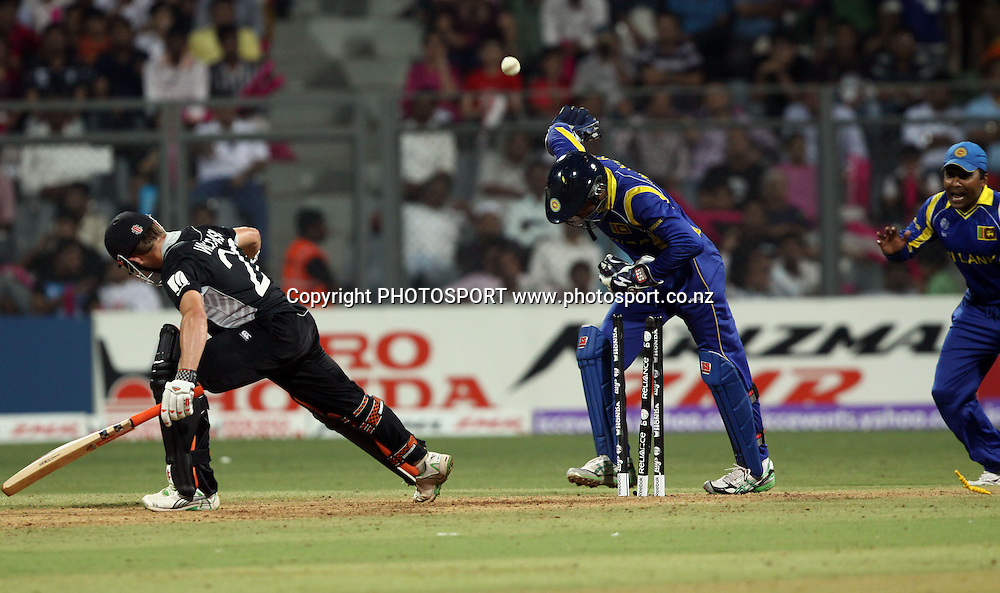 New Zealand batsman Kane Williamson st. out by Kumar Sangakkara During the ICC Cricket World Cup - 38th Match, Group A Sri Lanka vs New Zealand  Played at Wankhede Stadium, Mumbai (neutral venue) 18 March 2011 - day/night (50-over match)