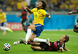 July 8, 2014 - Belo Horizonte, Brazil - LAHM, of Germany, right, tackles to stop MARCELO from scoring during the Brazil v Germany FIFA World Cup Brazil 2014 Semi-final at Estadio Mineirao. (Credit Image: © Marcelo Machado De Melo/Fotoarena/ZUMA Wire)