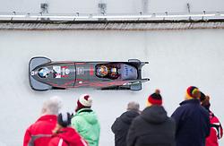 13.02.2016, Olympiaeisbahn Igls, Innsbruck, AUT, FIBT WM, Bob und Skeleton, Zweierbob Herren, 2. Lauf, im Bild Yunjong Won und Youngwoo Seo (KOR) // Yunjong Won and Youngwoo Seo of Republic of Korea competes during two men Bobsleigh 2nd run of FIBT Bobsleigh and Skeleton World Championships at the Olympiaeisbahn Igls in Innsbruck, Austria on 2016/02/13. EXPA Pictures © 2016, PhotoCredit: EXPA/ Johann Groder