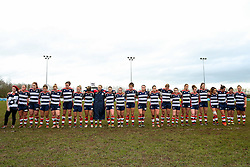 Bristol Ladies stand for a minutes silence in memory of former player Jen Lander who passed away this week - Rogan Thomson/JMP - 15/01/2017 - RUGBY UNION - Cleve RFC - Bristol, England - Bristol Ladies Rugby v Richmond WRFC - RFU Women's Premiership.