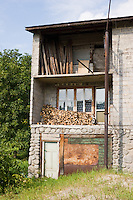 Open area for fire wood on the front of a Country house in Tyniec near Krakow Poland