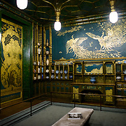 Freer Gallery of Art Peacock Room Peacock Room. Originally part of a London dining room and redecorated by American expatriat artist James McNeill Whistler, the Peack Room has been reinstalled as a room in the Freer Gallery of Art. The Freer Gallery of Art, on Washington DC's National Mall, joined the Arthur M. Sackler Gallery to form the Smithsonian Institution's Asian art gallery. The Freer Gallery contains a sizeable collection of Asian art, but also has a major collection of works by James McNeill Whistler.