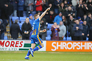 Shrewsbury Town's Greg Docherty celebrates the opening goal during the The FA Cup fourth round match between Shrewsbury Town and Wolverhampton Wanderers at Greenhous Meadow, Shrewsbury, England on 26 January 2019.