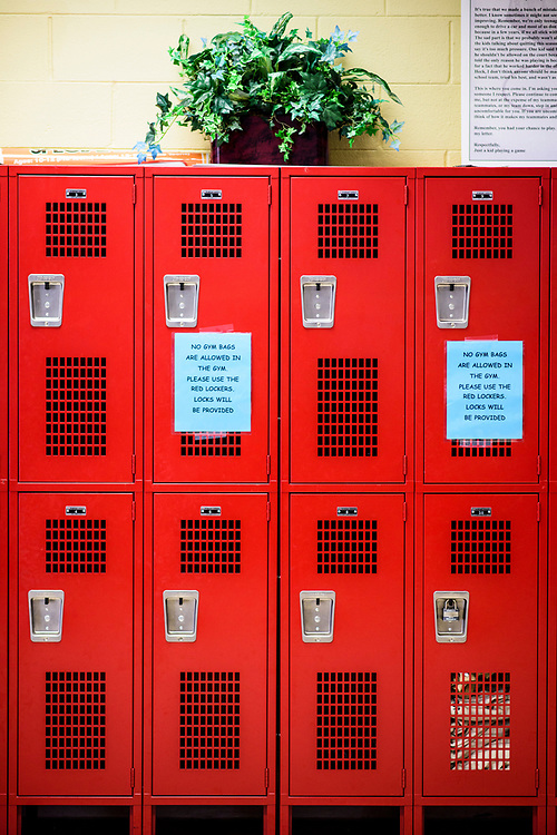 Capitol Heights, Maryland - March 29, 2017: Lockers are a relatively new addition to the Seat Pleasant Activity Center, thanks to NBA super star Kevin Durant.  Durant has donated a substantial amount of money to help renovate the Seat Pleasant Activity Center where he learned to play basketball. Durant's AAU coach and mentor Charles &quot;Chuckie&quot; Craig, who worked at the Activity Center, was gunned down in May 2005 at the age of 35. Durant wears #35 in Craig's honor.<br /> <br /> <br /> NBA Superstar Kevin Durant's jersey number &quot;35&quot; is a tribute to his rec. league coach and mentor Charles &quot;Chuckie&quot; Craig, who was gunned down in at a night club in Laurel, Md., in 2005 when he was 35 years old. <br /> <br /> CREDIT: Matt Roth for The New York Times<br /> Assignment ID: 30204524A