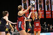 Tactix wing attack Erikana Pedersen passes to Tactix goal shoot Ellie Bird during the ANZ Premiership netball match - Magic v Tactix played at Claudelands Arena, Hamilton, New Zealand on 30 July 2018.<br /> <br /> Copyright photo: © Bruce Lim / www.photosport.nz