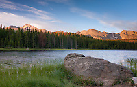 Bierstadt Lake at sunrise below the Continental Divide and Longs Peak. Rocky Mountain National Park, Colorado.