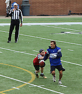 Super quick and former NFL superstar, Doug Flutie evades the tag during game action, Super Bowl 51 - 16th Annual Celebrity Flag Football Challenge, Rhodes Stadium,  4 Feb 2017, Katy TX.    Red Team Captain Kirk Cousins would lose for the 2nd straight year to Doug Flutie's Blue team by a final score of 40-35.