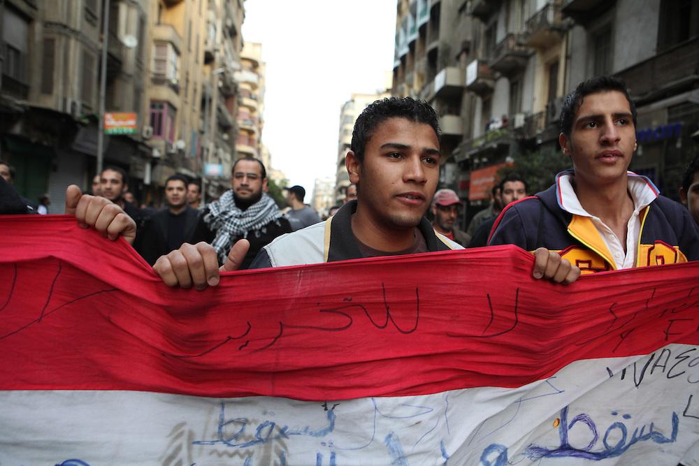 Protesters in downtown Cairo.