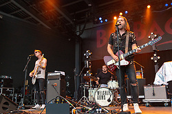 June 30, 2018 - Milwaukee, Wisconsin, U.S - JIMMY WEAVER, MIKEY GOULD and SAM GETZ of Welshly Arms performs live at Henry Maier Festival Park during Summerfest in Milwaukee, Wisconsin (Credit Image: © Daniel DeSlover via ZUMA Wire)