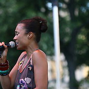 Philadelphia native and keyboardist Amel Larrieux performs in front of a large crowd at the 26th annual duPont Clifford Brown Jazz Festival Friday, June 20, 2014, at Rodney Square Park in Wilmington, DEL.    <br />
