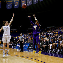 Mar 26, 2013; Baton Rouge, LA, USA; LSU Tigers guard Bianca Lutley (3) shoots over Penn State Lady Lions guard Maggie Lucas (33) in the first half during the second round of the 2013 NCAA womens basketball tournament at Pete Maravich Assembly Center. Mandatory Credit: Derick E. Hingle-USA TODAY Sports