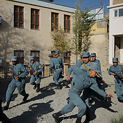 November 14, 2012 - Kabul, Afghanistan: Afghan National Police (ANP) cadets react to a simulated attack by Taliban during combat exercises at the Afghan Nacional Police Academy.<br />