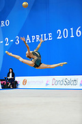 Moustafaeva Kseniya of France competes during the Rhythmic Gymnastics Individual ball final of the World Cup at Adriatic Arena on April 3, 2016 in Pesaro, Italy. She  is a French individual rhythmic gymnast of Belarusian origin born in Minsk in 1994.