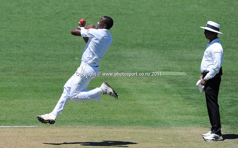 Shingirai Masakadza bowling during play on day 1 of the first cricket test, New Zealand v Zimbabwe at McLean Park. Thursday 26 January 2012. Napier, New Zealand. Photo: Andrew Cornaga/Photosport.co.nz