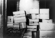 Prohibition or The Noble Experiment 1919-1933:  Cases of Whiskey confiscated by the US Internal Revenue Bureau, 1920s.