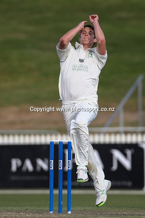 Central Stag's Ben Wheeler bowling during the Plunket Shield Cricket match, Northern Districts v Central Districts at Seddon Park, Hamilton. Tuesday 26 November 2013. Photo: Bruce Lim / photosport.co.nz