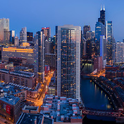 Aerial drone camera view of Chicago's skyline from near the Chicago River aboveMontgomery Park.