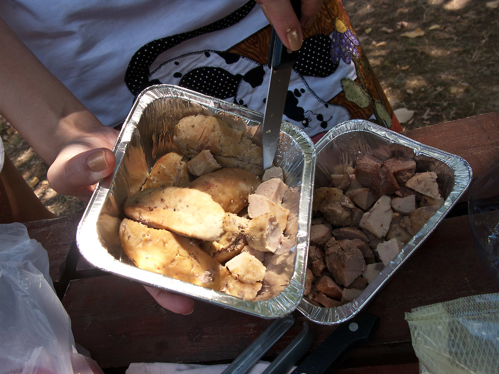 Bulls' balls being prepared at the 2011 World Testicle Cooking Championship, Ovcar Banja, Serbia.
