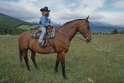 North America, United States, Montana, Boulder River Valley, girl on horse