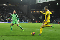 West Bromwich Albion's Ben Foster closes down West Ham's Adrian - Photo mandatory by-line: Dougie Allward/JMP - Mobile: 07966 386802 - 02/12/2014 - SPORT - Football - West Bromwich - The Hawthorns - West Bromwich Albion v West Ham United - Barclays Premier League