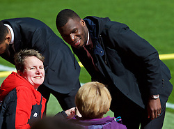 LIVERPOOL, ENGLAND - Sunday, April 10, 2016: Liverpool's Christian Benteke arrives before the Premier League match against Stoke City at Anfield. (Pic by David Rawcliffe/Propaganda)