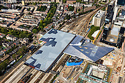 Nederland, Zuid-Holland, Rotterdam, 15-07-2012; Binnenstad, Stationsplein en Weena. Nieuwbouw nieuwe station met links de Provenierswijk..Center Rotterdam , the reconstructed railway station. .luchtfoto (toeslag), aerial photo (additional fee required).foto/photo Siebe Swart
