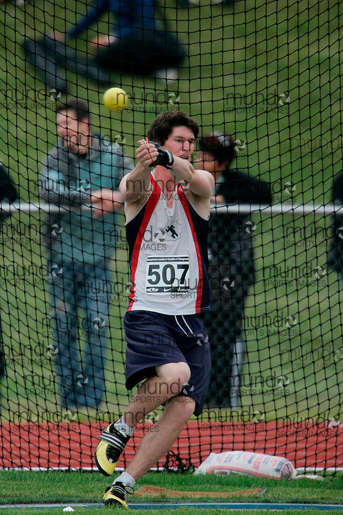 (Charlottetown, Prince Edward Island -- 20090717) Alex Pilar of Saugeen Track And Field competes in the hammer throw at the 2009 Canadian Junior Track & Field Championships at UPEI Alumni Canada Games Place on the campus of the University of Prince Edward Island, July 17-19, 2009.  Copyright Geoff Robins / Mundo Sport Images , 2009...Mundo Sport Images has been contracted by Athletics Canada to provide images to the media.