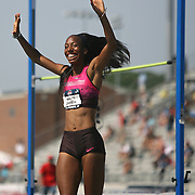 BARRETT - 13USA, Des Moines, Ia. -Brigetta Barrett was ecstatic with her personal best in the high jump.  Photo by David Peterson