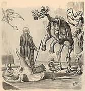 Othniel Charles Marsh (1831-1899) American palaeontologist. First professor of palaeontology at Yale university. Marsh discovered some 1,000 fossil vertebrates and organised expeditions, especially in Nebraska and Colorado. Cartoon from 'Punch' (London, 13 September 1890).