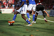 The quality of the pitch was poor during the Sky Bet Championship match between Brentford and Ipswich Town at Griffin Park, London, England on 8 August 2015. Photo by Matthew Redman.
