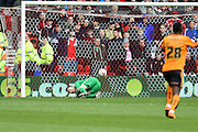 Nottingham Forest goalkeeper Dorus de Vries (1) as the Wolves score going 0-1 up in the second half during the Sky Bet Championship match between Nottingham Forest and Wolverhampton Wanderers at the City Ground, Nottingham, England on 30 April 2016. Photo by Jon Hobley.