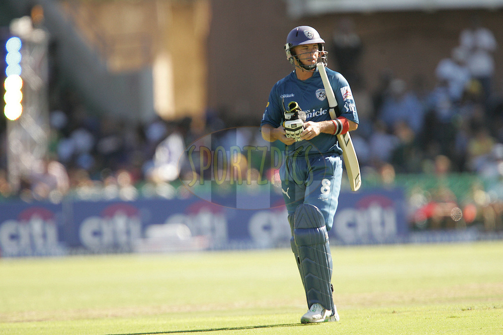 PORT ELIZABETH, SOUTH AFRICA - 02 May 2009. Herschell Gibbs leaves as the Rajasthan Royals celebrate during the  IPL Season 2 match between the Deccan Chargers and the Rajatshan Royals held at St Georges Park in Port Elizabeth , South Africa..