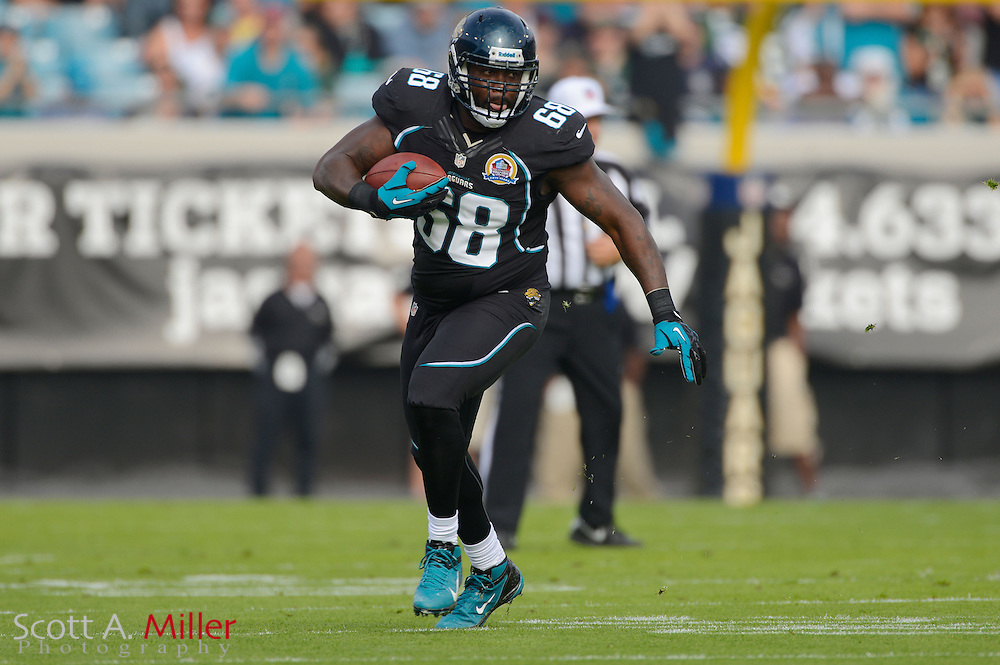 Jacksonville Jaguars tackle Steve Vallos (68) runs upfield with the ball during an NFL game against the New York Jets at EverBank Field on Dec 9, 2012 in Jacksonville, Florida. The Jets won 17-10...©2012 Scott A. Miller..