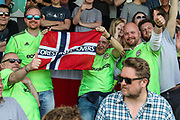 The Norwegian branch of the FGR Supporters Club during the EFL Sky Bet League 2 match between Forest Green Rovers and Grimsby Town FC at the New Lawn, Forest Green, United Kingdom on 5 May 2018. Picture by Shane Healey.