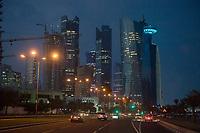 """10 APR 2013, DOHA/QATAR<br /> Qatar Downtown: Palm Towers (2. u. 4. v. links), Tornado Tower (3. v.L.) Al Bidda Tower (5. v.L.), Qatar World Trade Center (Qatar General Insurance Reinsurance Company) (2.v.R.), und Doha Tower, auch """"Condom Tower"""" (halb verdeckt rechts), gesehen von der Al Corniche Street<br /> IMAGE: 20130410-01-086<br /> KEYWORDS: Katar, Hochaus, Wolkenkratzer, Tower, Skyscraper, Nacht, Nachtaufnahme, Abend, Abendaufnahme, nachts, abends, night, Hochhaeuser, Hochäuser, Skyscraper, West Bay"""