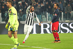 December 20, 2017 - Turin, Piedmont, Italy - Gonzalo Higuain (Juventus FC) celebrates after scoring during the Italian Cup football match between Juventus FC and Geona CFC at Allianz Stadium on 20 December, 2017 in Turin, Italy. ..Juventus won 2-0 over Genoa. (Credit Image: © Massimiliano Ferraro/NurPhoto via ZUMA Press)