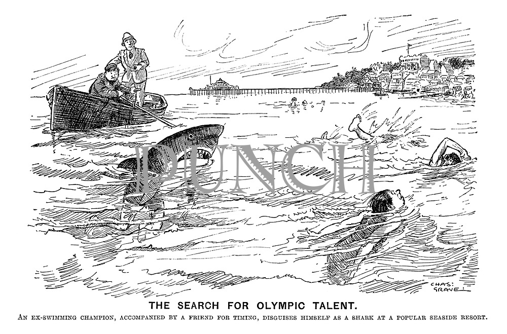 The search for olympic talent. An ex-swimming champion, accompanied by a friend for timing, diguises himself as a shark at a popular seaside resort.