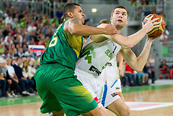 Rafael Hettsheimer of Brasil vs Uros Slokar of Slovenia during friendly basketball match between National Teams of Slovenia and Brasil at Day 2 of Telemach Tournament on August 22, 2014 in Arena Stozice, Ljubljana, Slovenia. Photo by Vid Ponikvar / Sportida