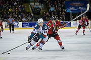 KELOWNA, CANADA - JANUARY 21:  Kelowna Rockets right wing Kole Lind #16 and Portland Winterhawks center Brad Ginnell #27 at the Kelowna Rockets game on January 21, 2017 at Prospera Place in Kelowna, British Columbia, Canada.  (Photo By Cindy Rogers/Nyasa Photography,  *** Local Caption ***