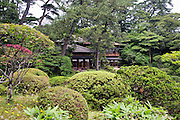 "Photos shows the 200-year-old Kakubuen garden and Seienkaku ""palace"", which is now the main building of the Honma Museum of Art in Sakata, Yamagata Prefecture, Japan, on July 06, 2012. The first floor of the museum's main building was built 200 years ago as the vacation villa of the Honma family, a respected trading clan, while the second floor was added 100 years ago in anticipation of a visit by the then emperor. Photographer: Robert Gilhooly"