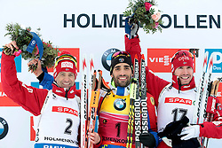 06.03.2016, Holmenkollen, Oslo, NOR, IBU Weltmeisterschaft Biathlion, Oslo, Verfolgung, Herren, im Bild bjoerndalen ole einar (nor), fourcade martin (fra), svendsen emil hegle (nor) // during Mens pursuit Race of the IBU World Championships, Oslo 2016 at the Holmenkollen in Oslo, Norway on 2016/03/06. EXPA Pictures © 2016, PhotoCredit: EXPA/ Pressesports/ MONS FREDERIC<br /> <br /> *****ATTENTION - for AUT, SLO, CRO, SRB, BIH, MAZ, POL only*****